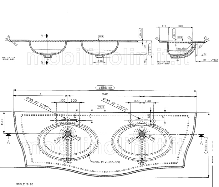 scheda tecnica doppio lavabo