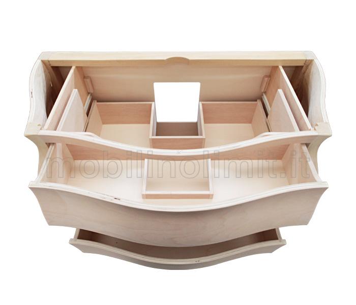 Mobile bagno classico sagomato con 3 cassetti grezzo for Maniglie mobili bagno
