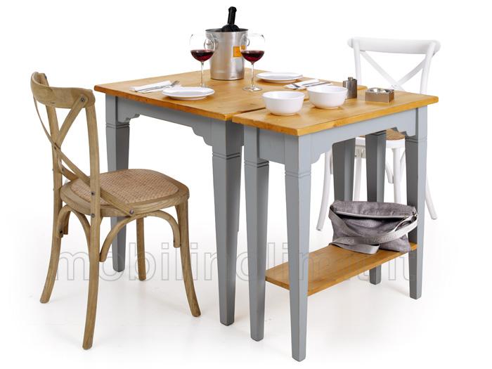 tavolo celeste shabby con piano miele naturale. Black Bedroom Furniture Sets. Home Design Ideas