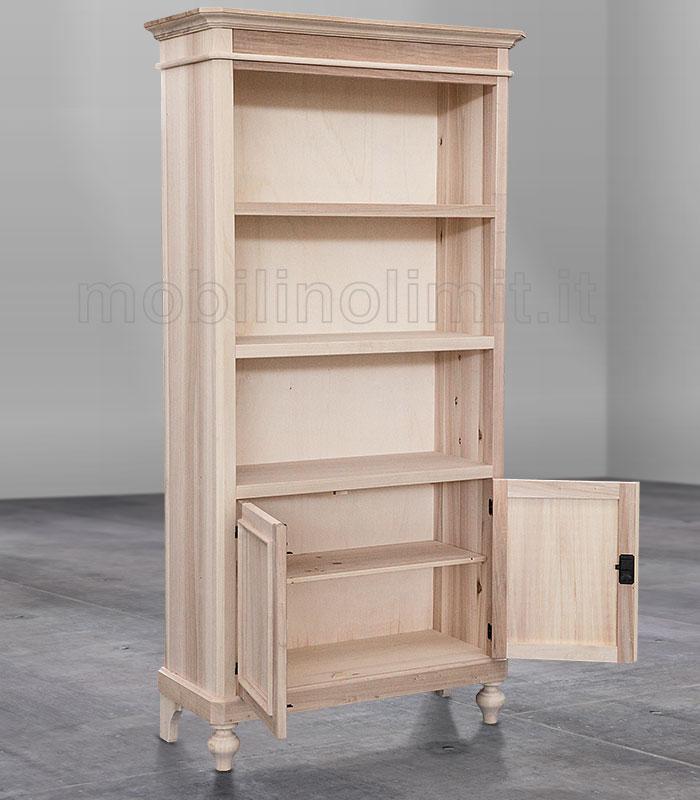 Libreria a giorno con mensole e 2 ante grezzo for Verniciare legno grezzo