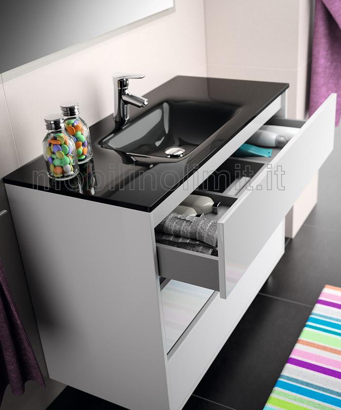 Lavabo con vetro temperato nero e interno di un cassetto