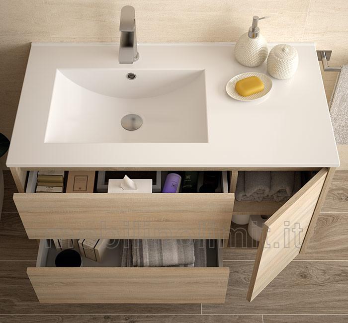 Mobile bagno moderno con lavabo l 85 caledonia for Muebles de lavabo de 70 cm