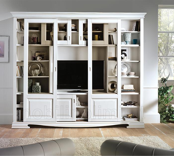 Libreria 6 ante scorrevoli con porta tv bianca - Libreria con porta ...