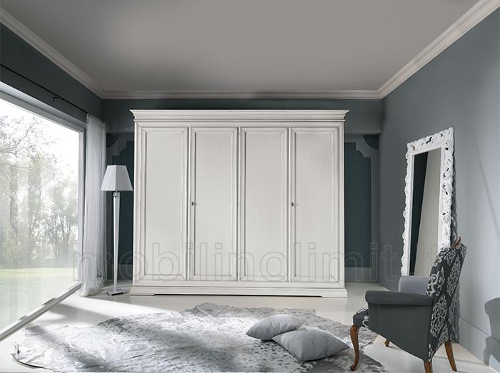 Armadio classico bianco 4 ante for Camera da letto senza armadio