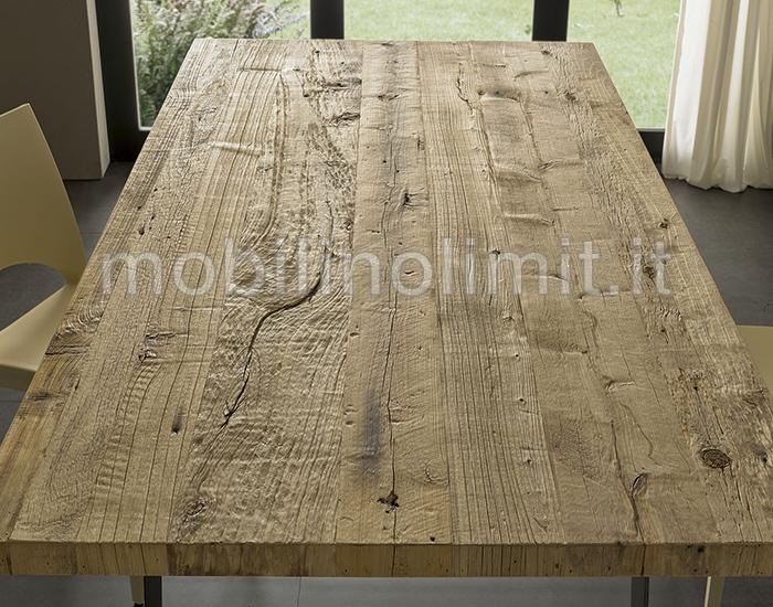 Legno Naturale Chiaro : Tavolo industrial con piano ontano chiaro cera naturale