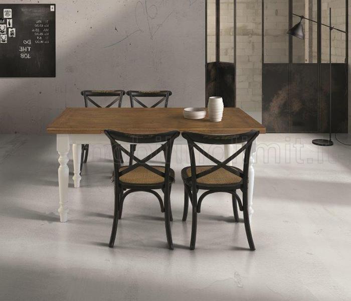 Tavolo bicolore allungabile bianco e sedie nere