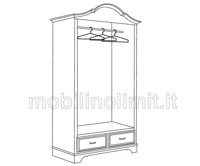 disegno dell'interno dell'armadio