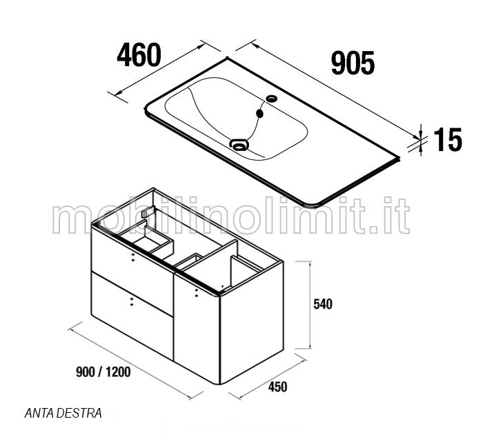 scheda tecnica del mobile bagno da 90 cm con lavabo