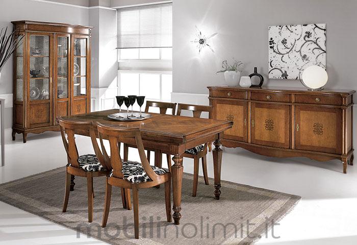 sala da pranzo classica con tavolo allungabile a serranda