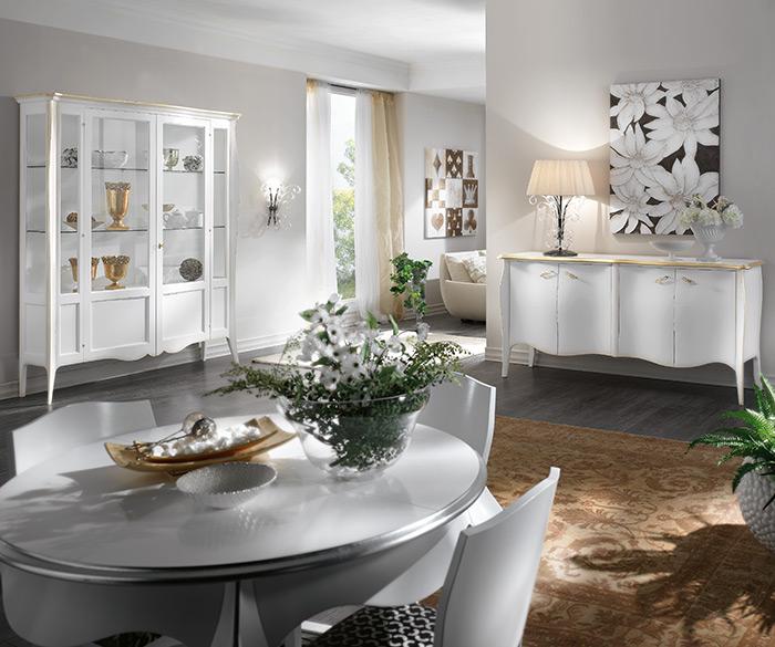composizione sala da pranzo bianca e foglio oro