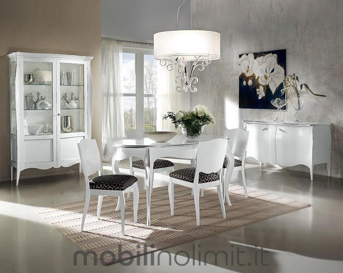 sala da pranzo completa bianca con foglia argento