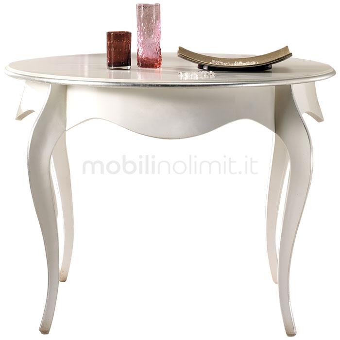 tavolo rotondo allungabile con profili foglia argento