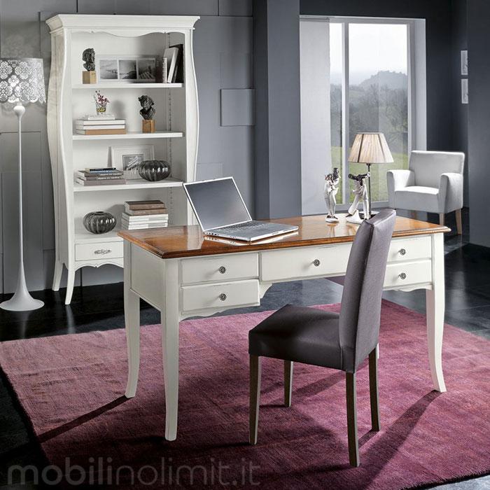 scrivania shabby chic bianca e noce con libreria