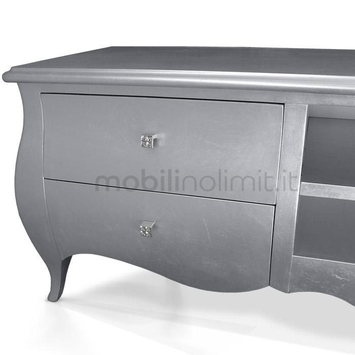 porta televisore in foglia argento