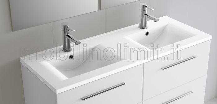 Mobile bagno sospeso con doppio lavabo grigio opaco for Bagno doppio lavabo offerta