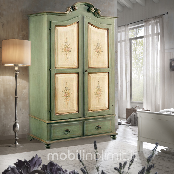 Armadio provenzale 2 ante verde bicolore - Stile provenzale mobili ...