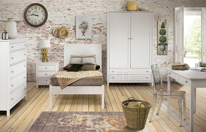 Camera da letto completa con letto singolo - Bianca