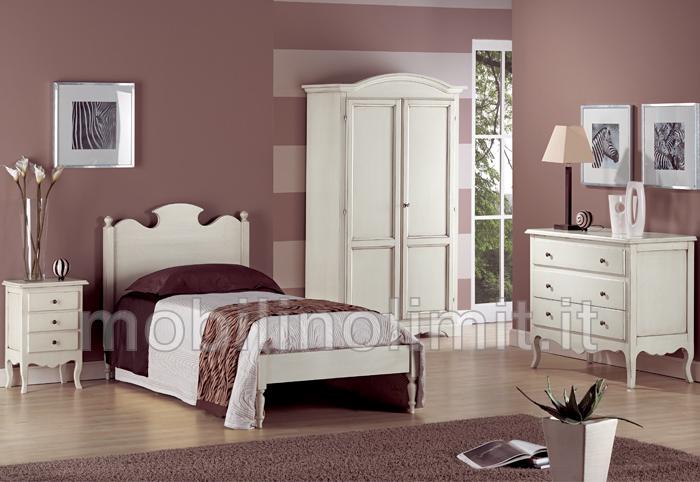 Camera da letto una piazza bianco anticato for Camere da letto basso costo