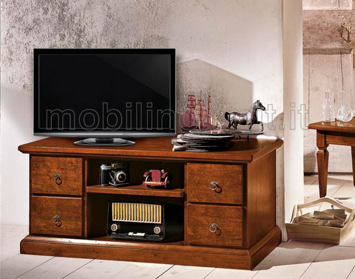 Cassapanca Porta Tv.Cassapanca Porta Tv 4 Cassetti Noce Scuro