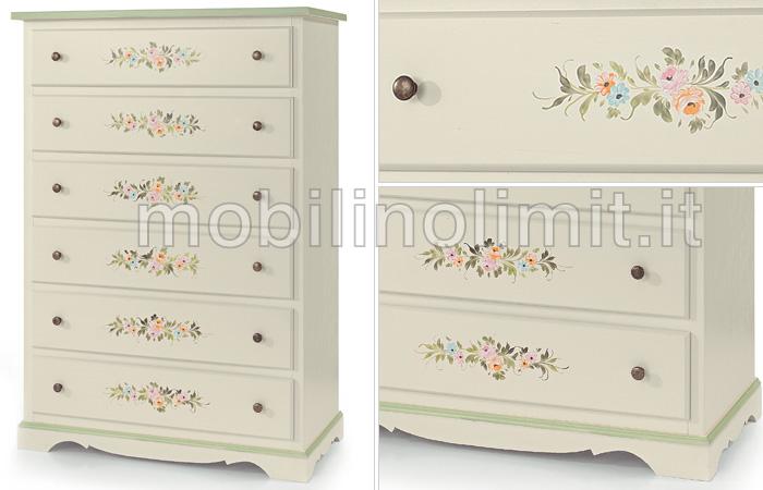Cassettiera provenzale con 6 cassetti - Dipingere mobili legno stile provenzale ...