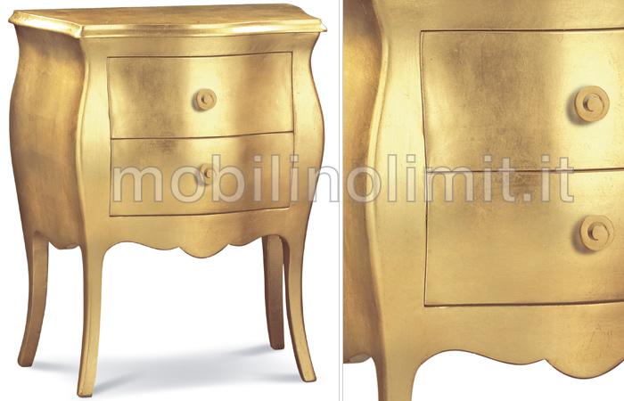 Comodino Bombato 2 Cassetti Foglia Oro