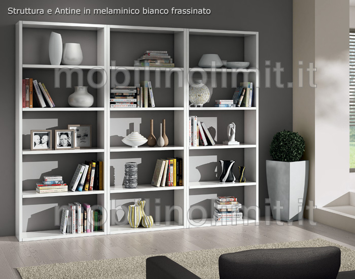 Composizione con 3 librerie bianco frassinato 89 for Librerie vendita online
