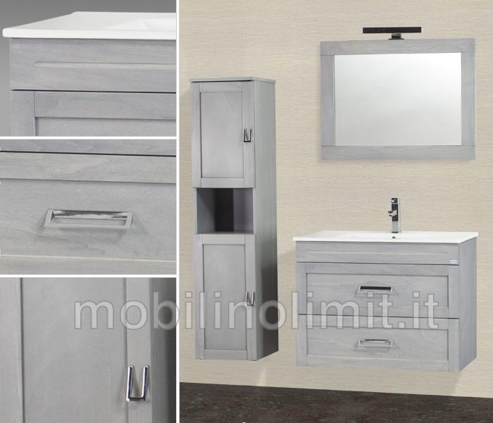 Composizione mobile bagno sospeso 2 cassettoni grigio perla 80 cm - Mobile bagno sospeso 80 cm ...