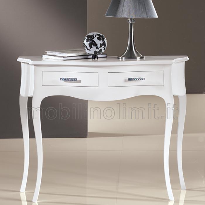 Consolle 2 cassetti bianco lucido for Consolle allungabile laccata bianca