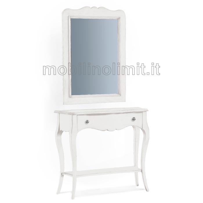 Consolle 1 Cassetto con specchio - Bianco Opaco