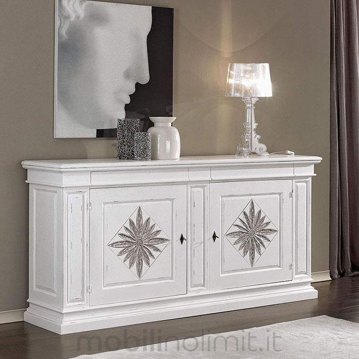 Credenza Arte Povera Bianca : Credenza shabby con intaglio 2 ante e cassetti bianca argento