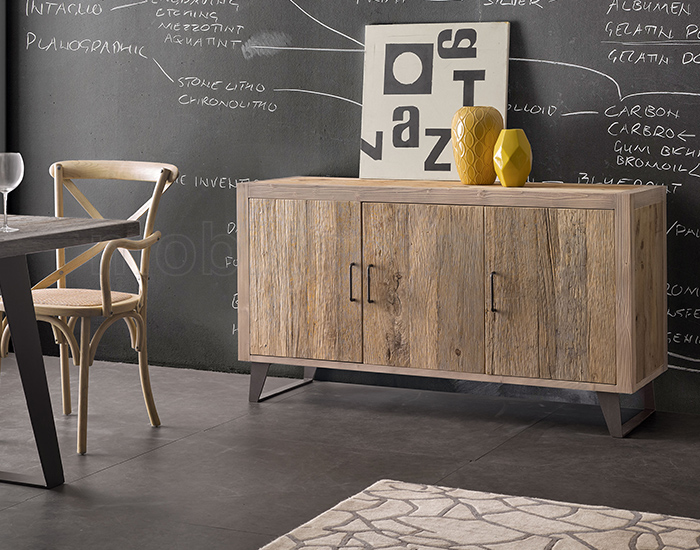 Credenza Con Legno Di Recupero : Credenza stile industrial in legno pregiato di ontano
