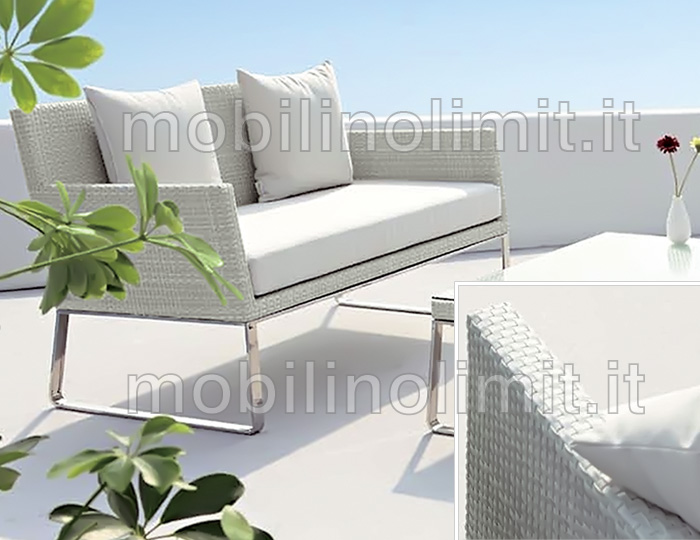 Divano sof bianco per esterno - Divano in resina da esterno ...