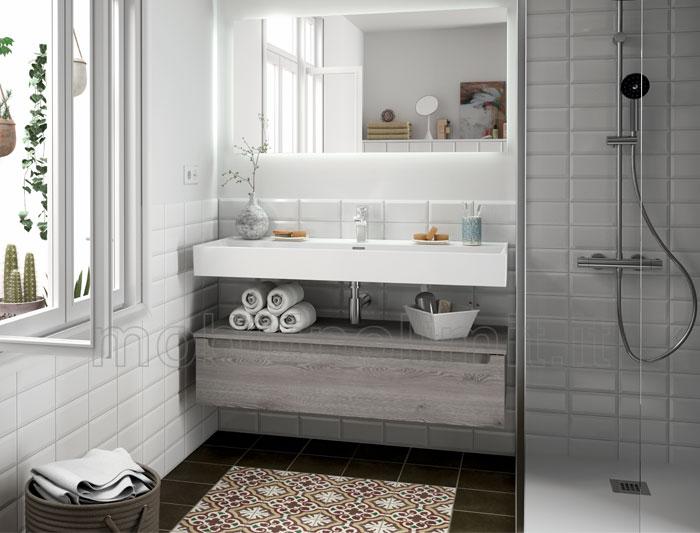 lavabo sospeso con mobile bagno pino bahia linea