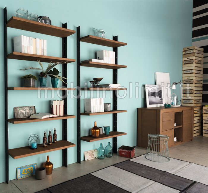 Libreria industrial design 5 ripiani for Arredamento libreria design