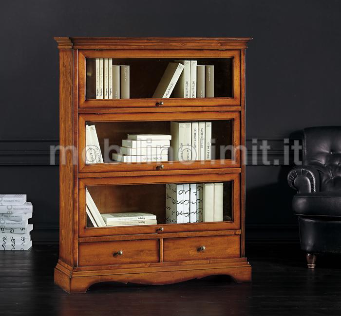 Libreria 2 cassetti e ante in vetro arte povera for Vetrinetta bassa arte povera