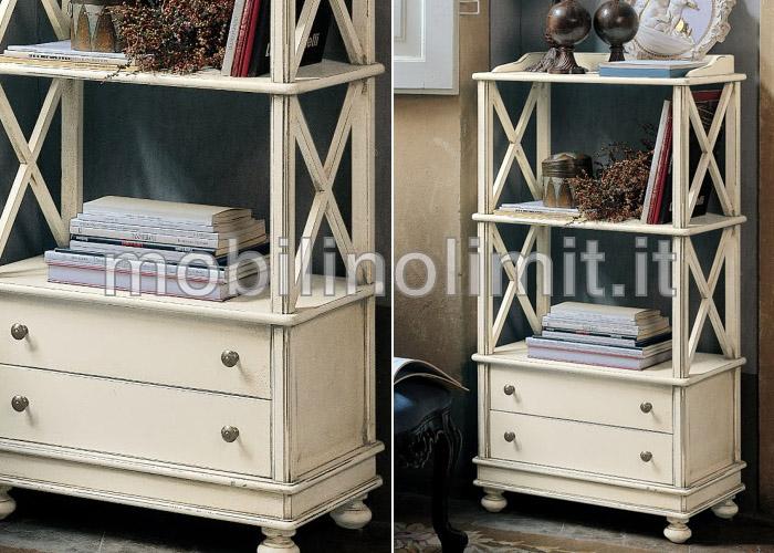 Libreria finitura coloniale - Mobili legno bianco anticato ...