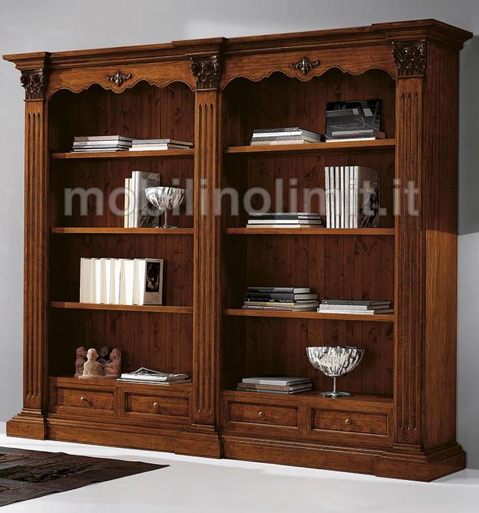 Libreria classica in stile corinzio con 2 vani a giorno for Vendita mobili in stile