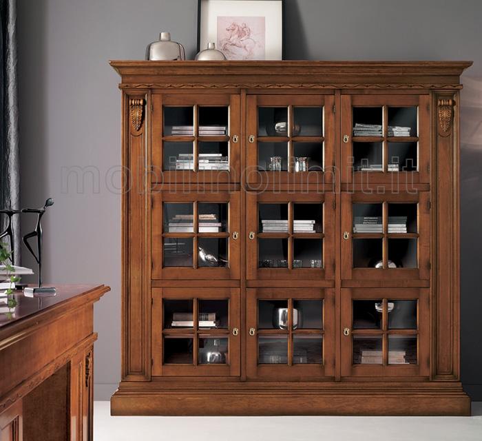 Libreria con Intagli in Noce Scuro - L.215 cm