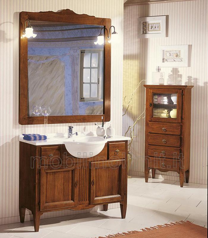 Mobile bagno con 2 ante e 2 cassetti completo di lavabo noce - Mobili bagno arte povera ...