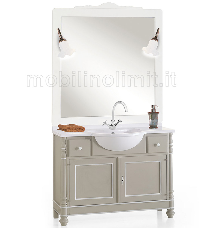 Mobile bagno 2 ante e 2 cassetti grigio e filetti bianchi for Vendita mobili bagno