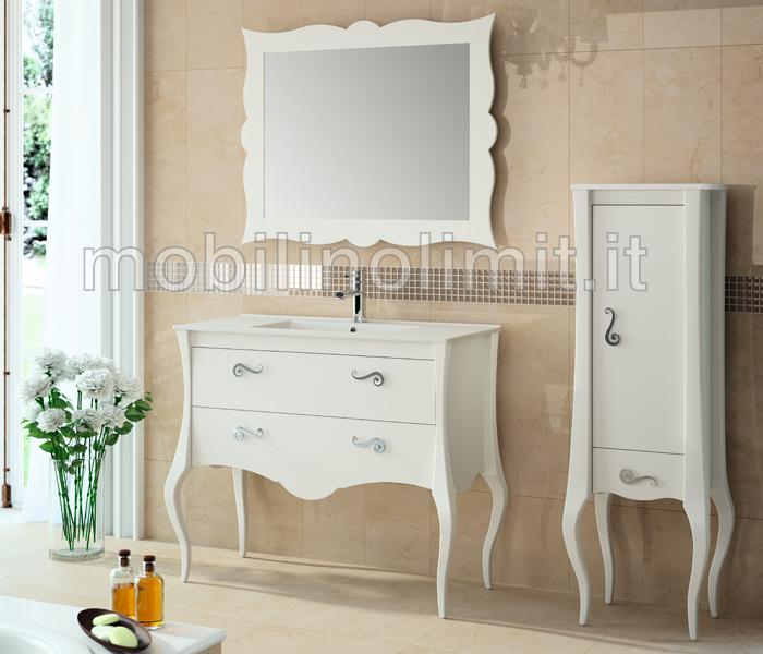 Mobile Bagno Bianco 2 cassetti con Lavabo - L.105