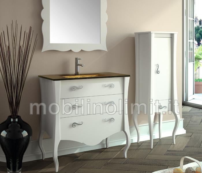 Mobile bagno bianco 3 cassetti con lavabo for Mobile bagno dimensioni