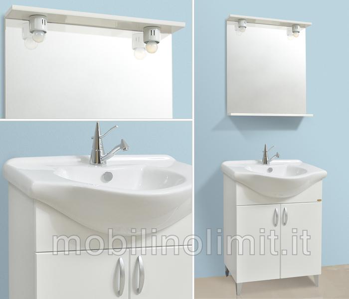 Mobile bagno con piedini bianco lucido 55 cm - Bagno con sale ...