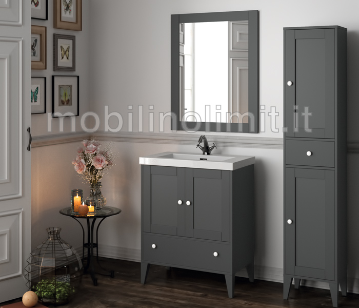 Mobile bagno grigio con lavabo serie toscana - Poggia computer da letto ...
