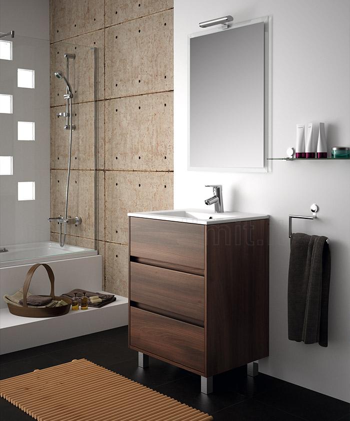 Mobile bagno moderno con piedini l 60 acacia marrone - Arredo bagno marrone ...