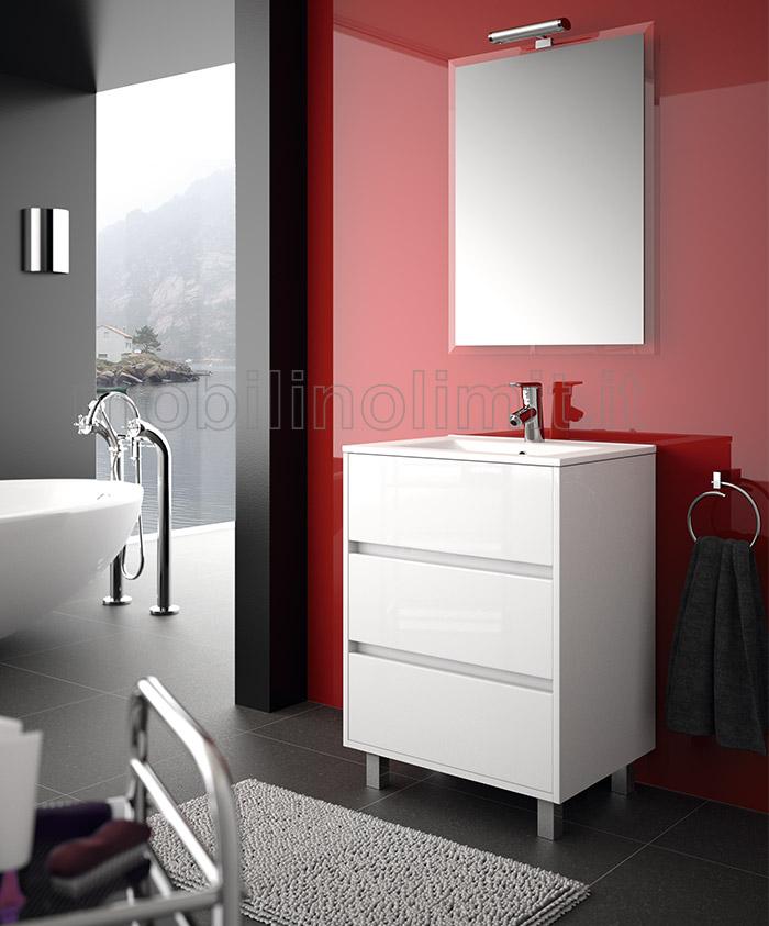 Mobile bagno moderno con piedini l 60 bianco lucido - Mobile bagno bianco lucido ...