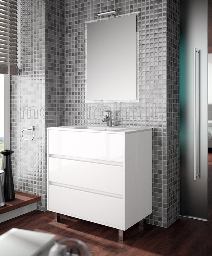 Mobile bagno moderno con lavabo l 80 bianco lucido - Mobile bagno bianco lucido ...