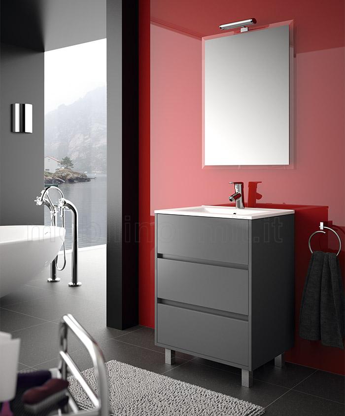 Mobile bagno moderno con piedini l 60 grigio opaco - Mobile bagno moderno a terra ...