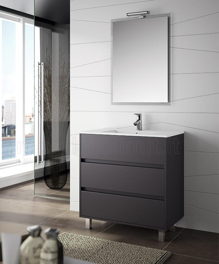 mobile bagno moderno con piedini l 80 grigio opaco