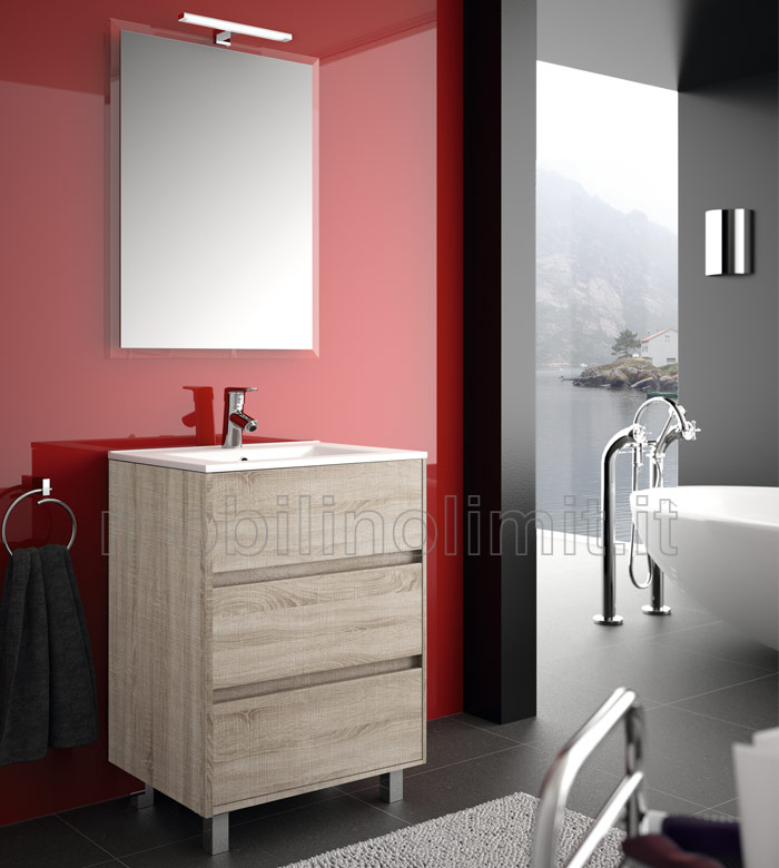 Mobile bagno moderno con piedini l 60 caledonia for Mobile bagno 60